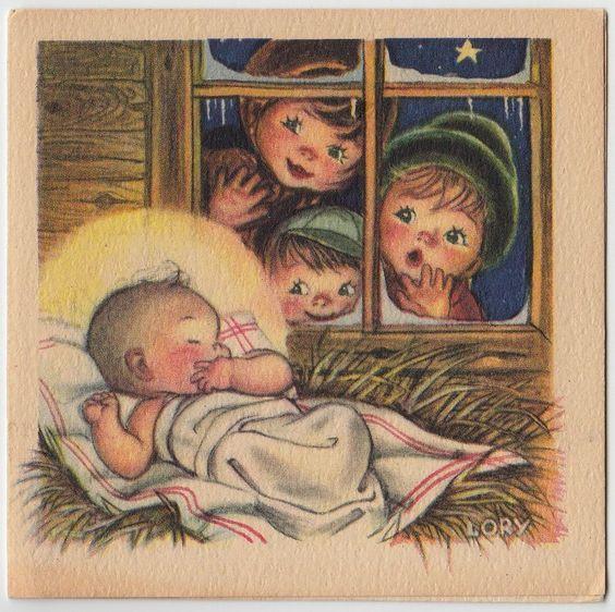 老式贺卡圣诞节Ars萨克拉LORY儿童婴儿耶稣诞生e320