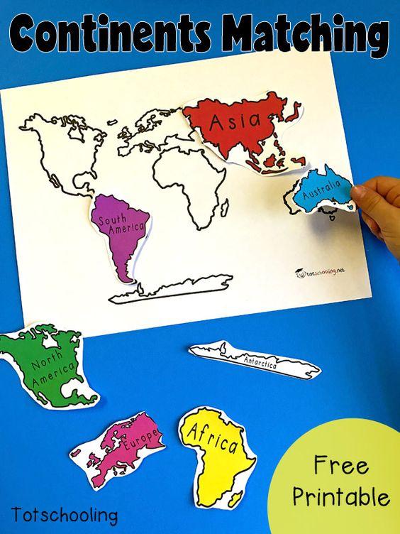 与世界七大洲的免费地理匹配活动。适合幼儿,学龄前儿童和幼儿园介绍各大洲。