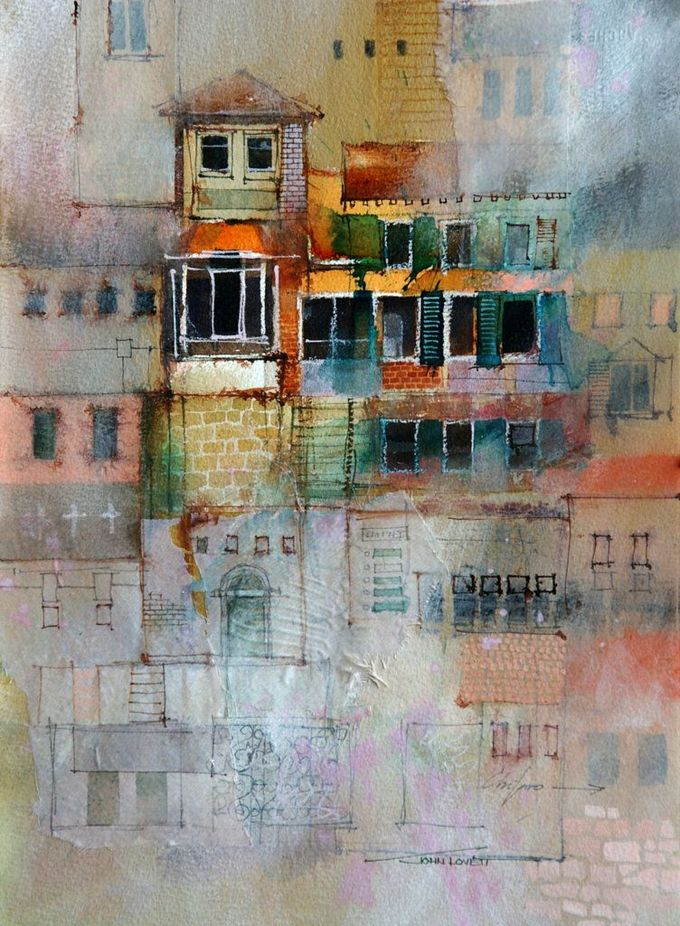 texture techniques by John Lovett, using a combination of watercolor, ink, pastel and gouache to build up convincing, visual texture in a watercolor painting.