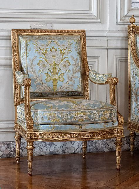 Jean-Baptiste-Claude SÉNÉ ~ Pair of bergères (armchairs) ~1789, Paris | These two bergères belonged originally to a set designed to furnish the 'salon de compagnie' (reception room) of Madame Elisabeth (1764-1794), the sister of Louis XVI, at the Château de Montreuil (Versailles). This furniture set was one of the last to be delivered to the Royal Furniture Repository before the French Revolution. Now in the Grand Cabinet du Dauphin | Versailles