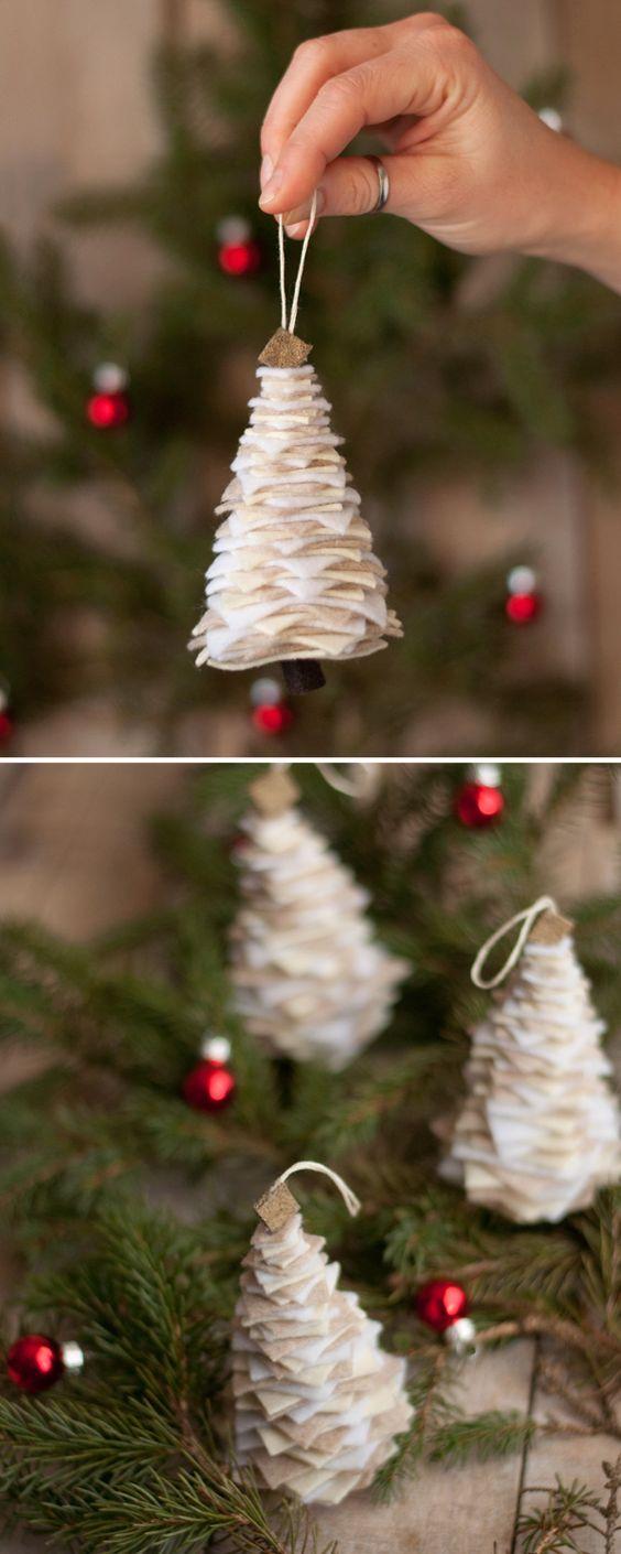 简单而可爱的毛毡圣诞树饰品!