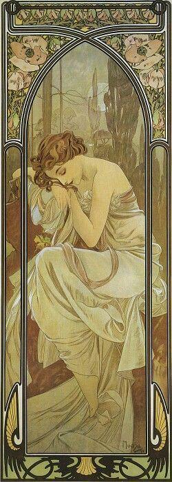 畫 名 : 夜眠 The Times of the Day - Night 's Rest 作 者 : 慕夏 Alphonse Mucha 年 份 : 1899 年