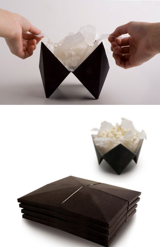 An origami microwave popcorn design that folds out into a bowl. | 31 Mind-Blowing Examples of Brilliant Packaging Design