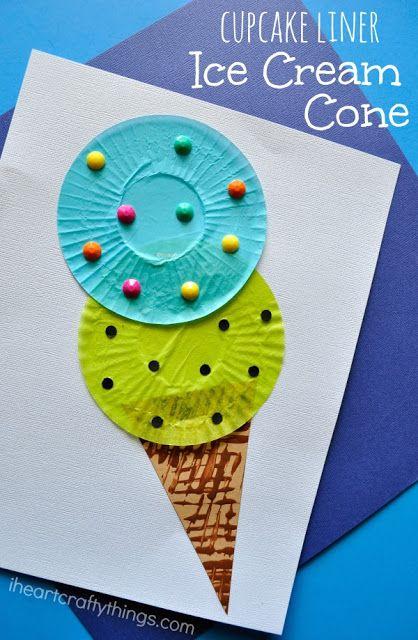 有趣的蛋糕班轮冰淇淋锥孩子工艺完美夏季工艺为孩子们,夏天孩子工艺,学龄前工艺和蛋糕班轮工艺品。