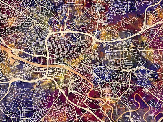 Glasgow Map, Scotland, Glasgow City Street Map Art Print (1545)