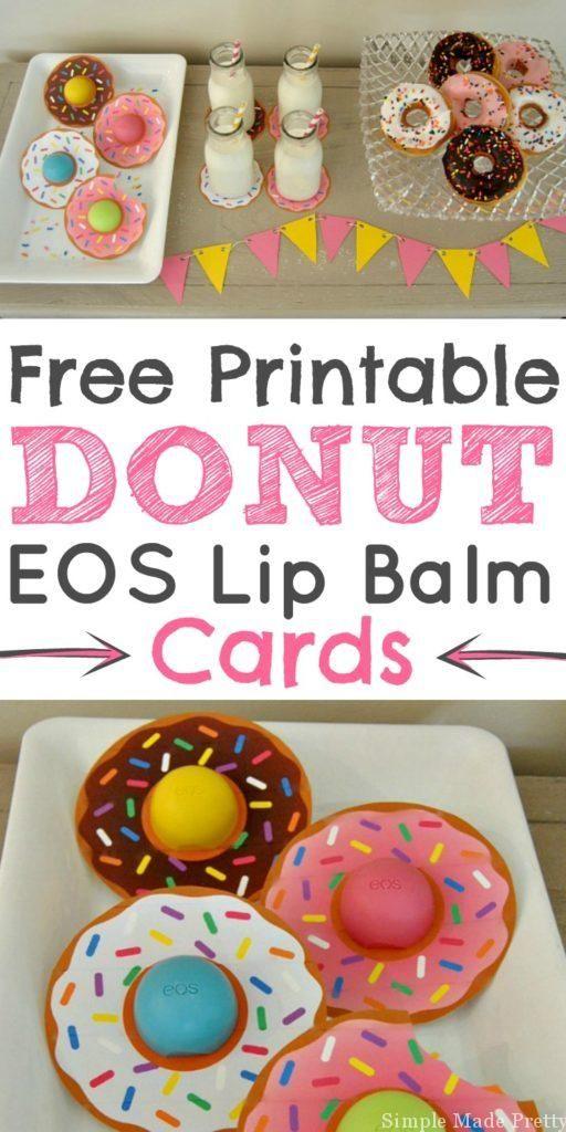 这些免费可打印的甜甜圈EOS唇膏卡是甜甜圈派对,新娘送礼,婴儿送礼,教师礼物,情人节,母亲节或复活节的完美聚会!