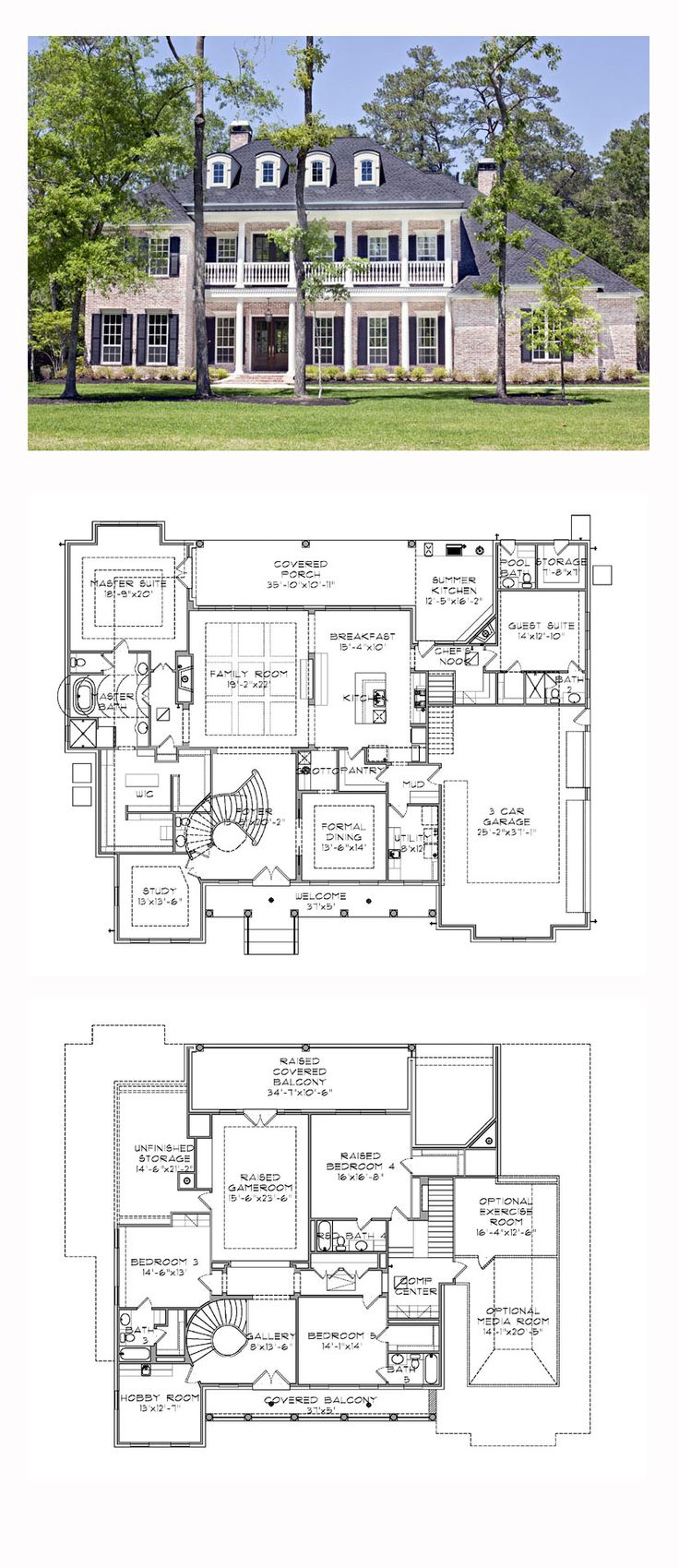 Plantation House Plan 77818 | Total Living Area: 5120 sq. ft., 5 bedrooms and…