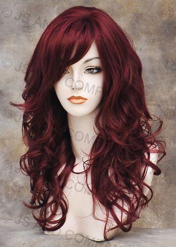 Wonderful Long wavy Layered Soft Burgundy Red Mix Curly Wig w. bangs bc HL39/130