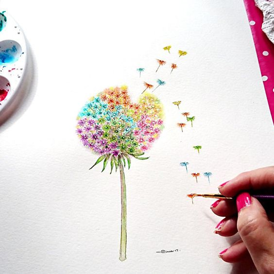 Dandelion seed painting, made to order, Watercolour painting, Rainbow, Dandelion clock, Colourful Dandelion, Hand Painted, Flowery Art