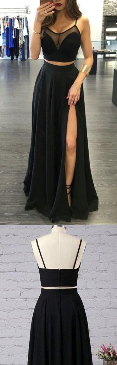 便宜现代长线条舞会礼服,黑色意大利面带分裂前分裂舞会礼服