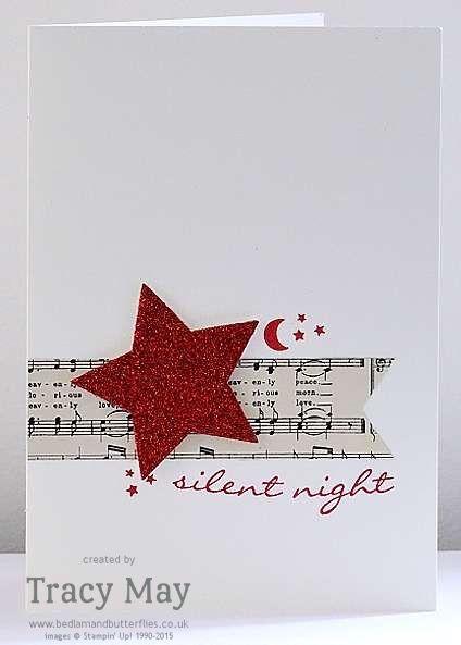 清洁简单的圣诞卡使用Jingle一路从Stampin'Up!由英国独立示威者Tracy May创建