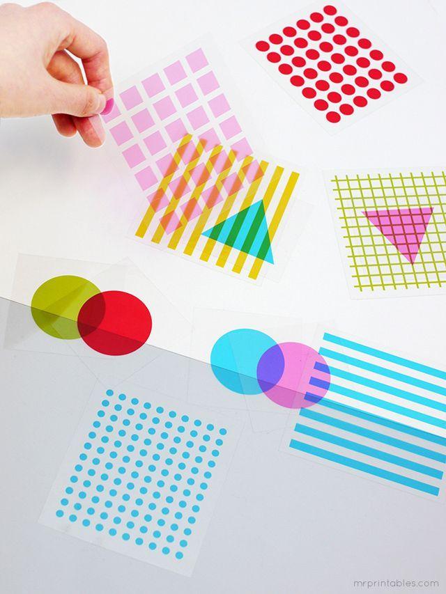形状和颜色叠加游戏卡 -  Mr Printables