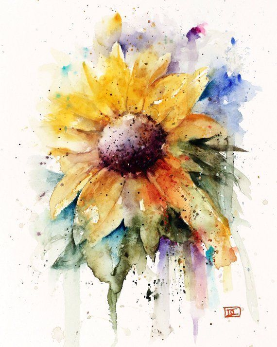 SUNFLOWER Watercolor Flower Print By Dean Crouser