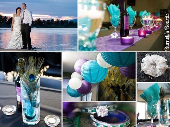 来自加拿大的真正婚礼,紫色和蓝色的宝石色调和孔雀和葡萄酒主题!