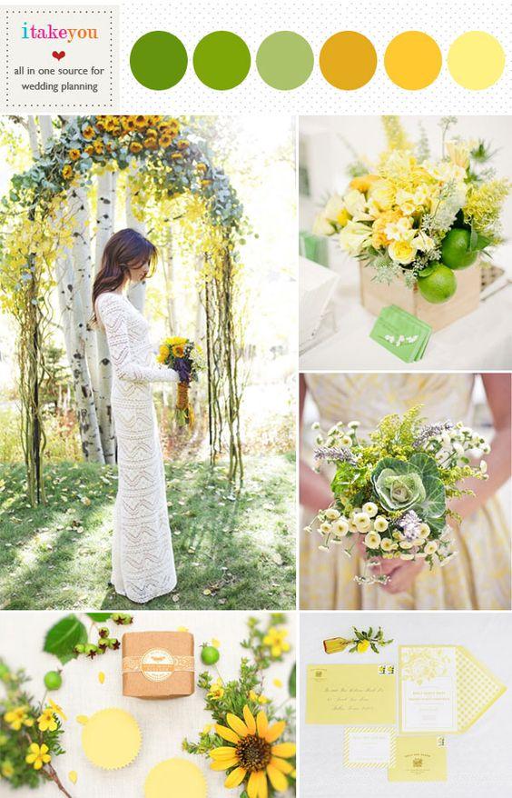 绿色黄色婚礼调色板,柠檬绿芥末黄色调色板1.明亮开朗的向日葵拱门 -  tbartonphotography 2.石灰+黄色焦点灵感-revel-blog 3.柔和的黄色伴娘礼服 -  heartloveweddings 4。