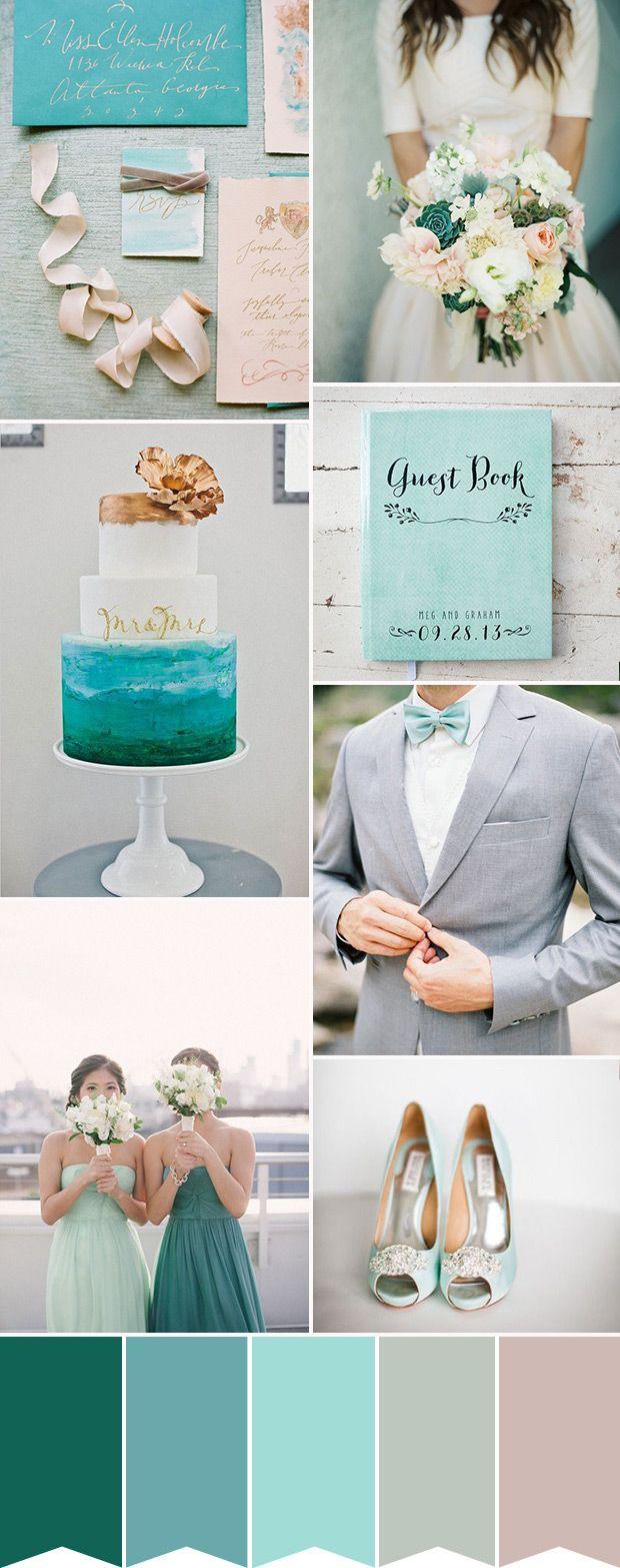 Aqua&Teal婚礼  www.onefabday.com   #Aqua #Teal #Wedding