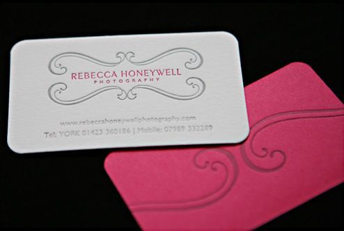 Letterpress business card with rounded edge and custom duplexed back