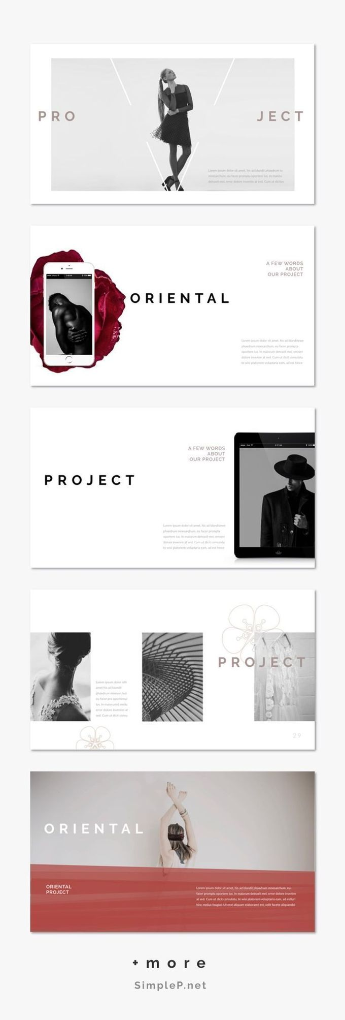 Modern Portfolio Presentation Template #ppt #powerpoint #oriental #rose #mockup #business #marketing