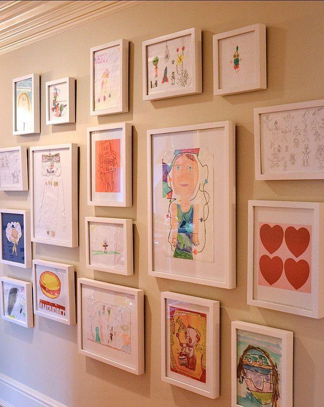图片集。展示你的孩子艺术!可爱的主意! #Kids #Homedecor