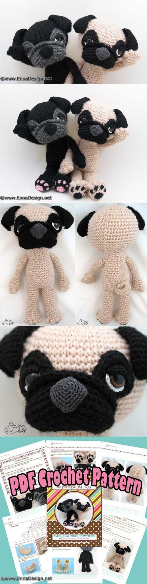 由Emi Kanesada(Enna Design)设计的困倦眼睛的哈巴狗amigurumi模式