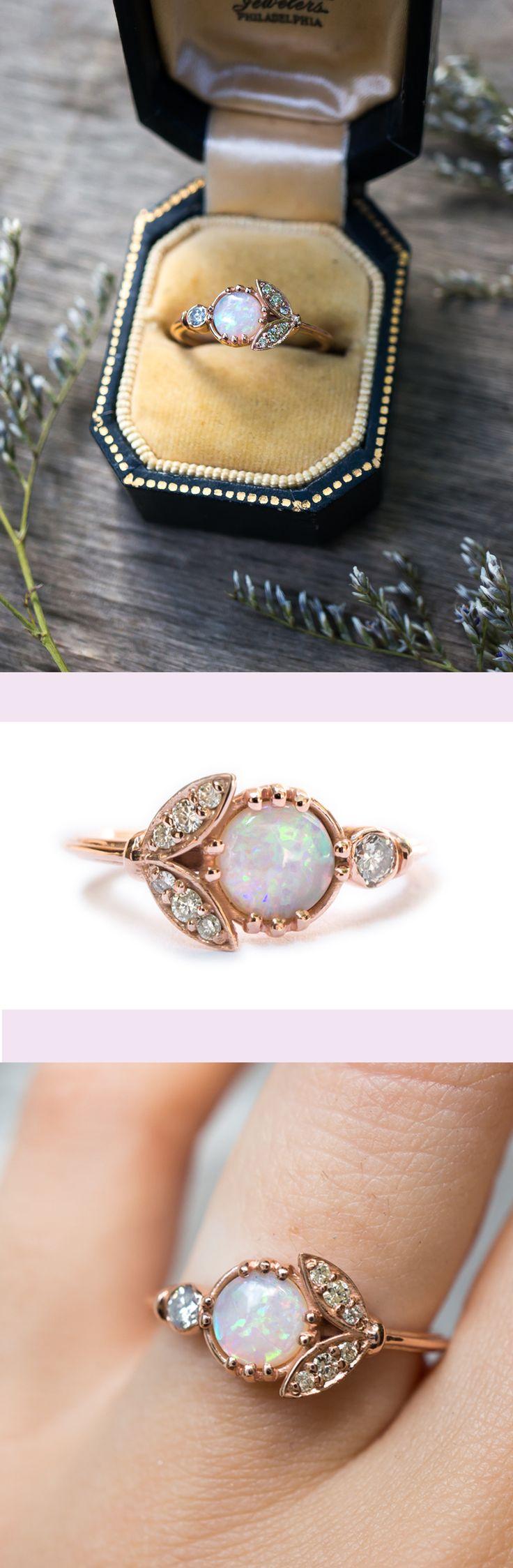 S.Kind&Co。独特的蛋白石订婚戒指