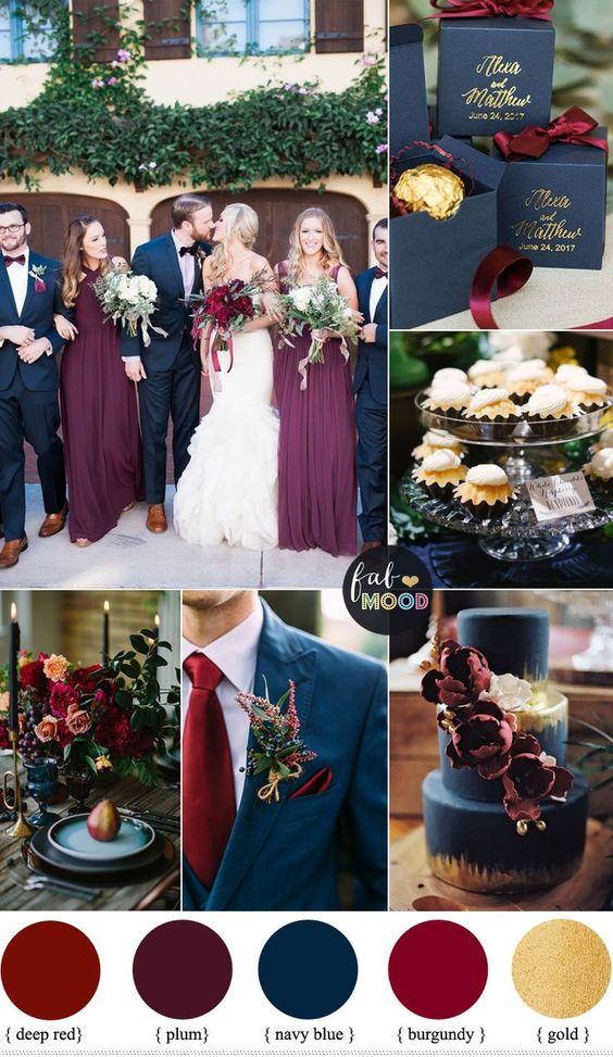 梅花,勃艮第和海军蓝色婚礼与黄金口音秋季和冬季婚礼
