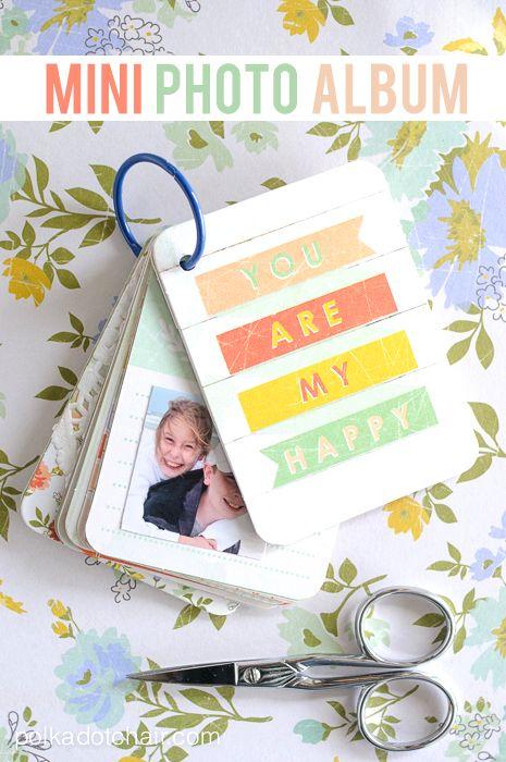 从项目生活卡,简单的剪贴簿想法,迷你剪贴簿,如何制作迷你相册制作的可爱的小型DIY迷你相册