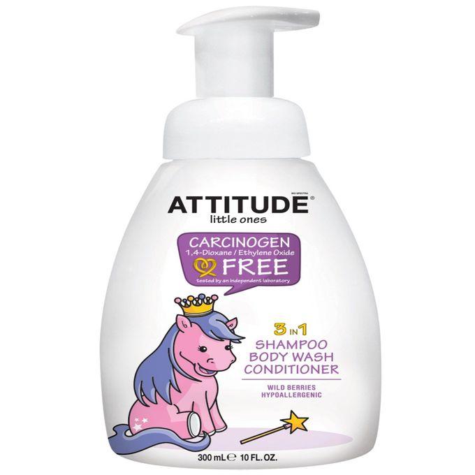 ATTITUDE, Little Ones, 3 in 1 Shampoo, Body Wash, Conditioner, Wild Berries, 10 fl oz (300 ml)