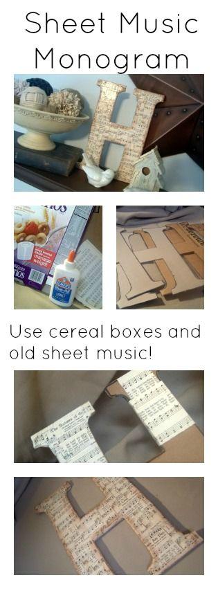 用旧麦片盒和复古乐谱做这个DIY刨花板会标。你可以免费添加一个乐谱信到你的家庭装饰!
