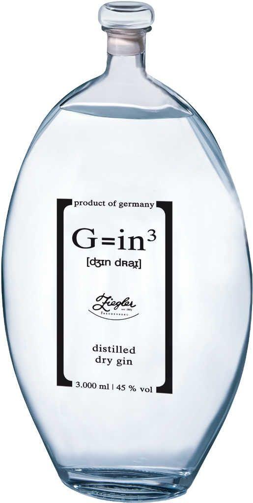 Gin von Ziegler in der 3 Liter Flasche mit 45% Vol.Alc.