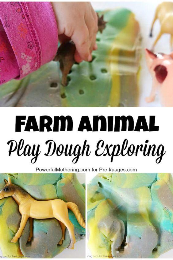幼儿园,幼儿园和幼儿园的农场动物和玩面团探索
