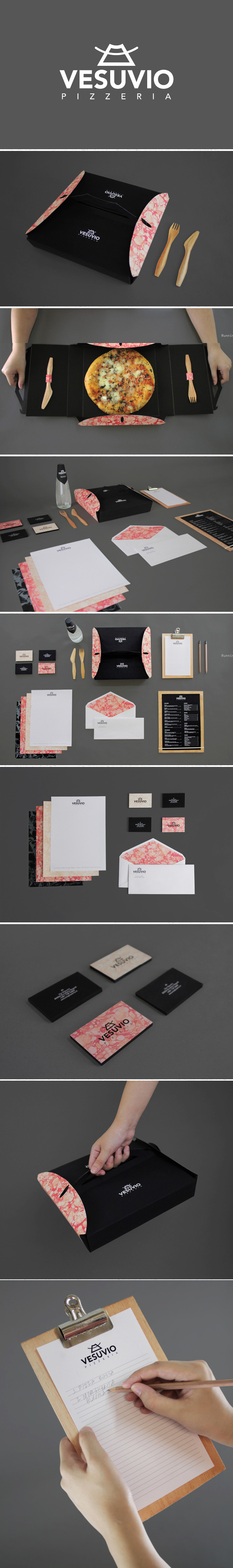 Vesuvio Pizzeria - Angelica Baini  This was a university assignment to make a take-out packaging design for any fast food of our choice. Initially, the project was just to make the box but I expanded on doing the whole branding for it.   這是一所大學的分配作出取出包裝設計,我們在任何快餐。最初,該項目只是為了讓箱子,但我擴大做整體的品牌吧。
