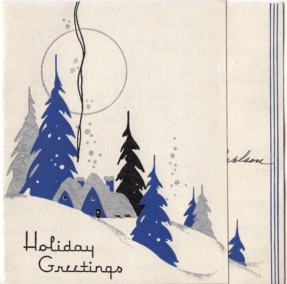 老式贺卡圣诞景观房子雪艺术装饰20世纪40年代v785
