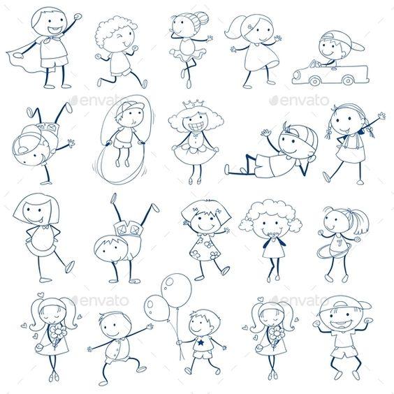 孩子们在白色背景上玩草图的插图