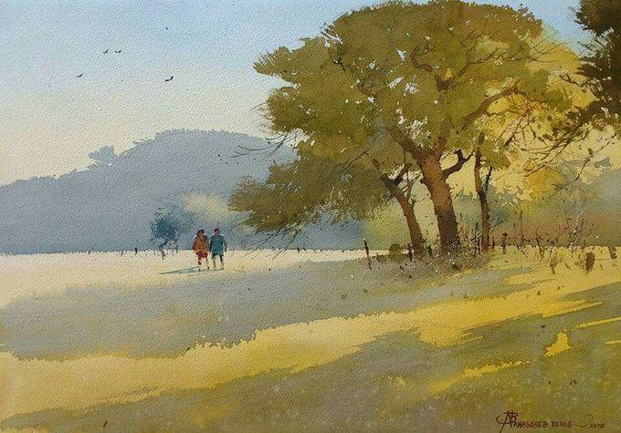 Watercolor work by Nanasaheb Yeole