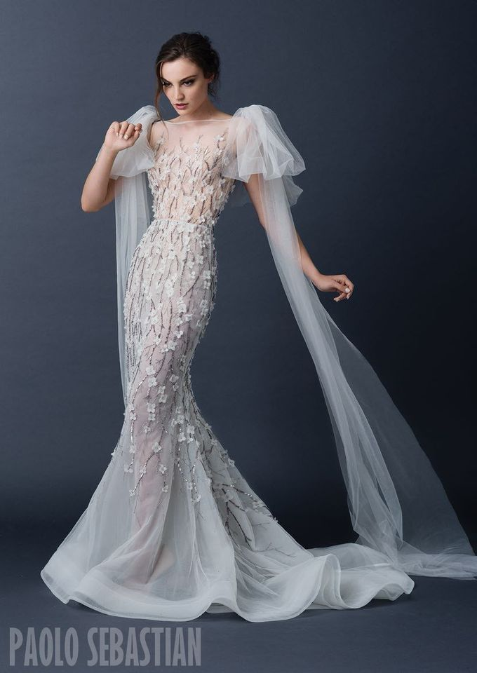 PSAW1515 Tulle fishtail gown with bow detailing and floral embroidery