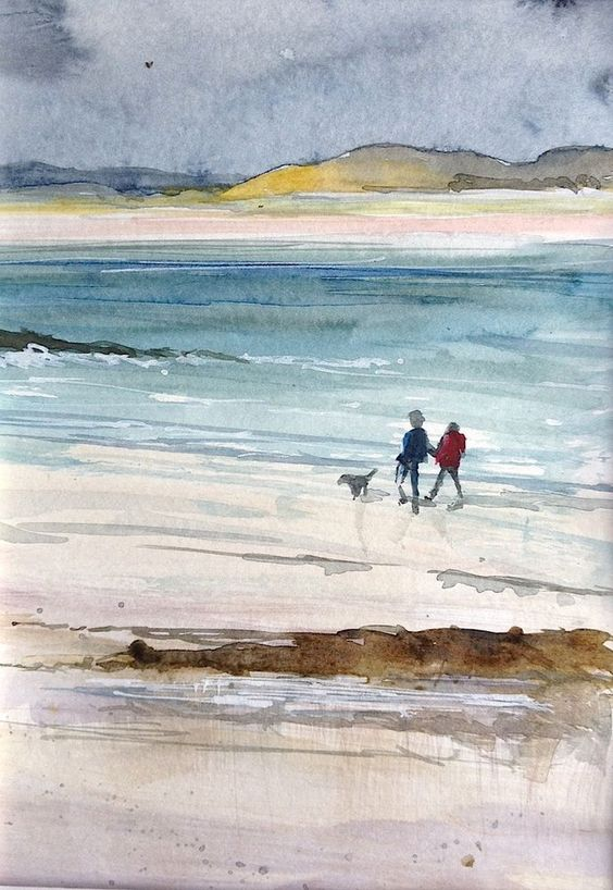 Original Watercolour Landscape Painting-Walk on the Beach- by Annabel Burton