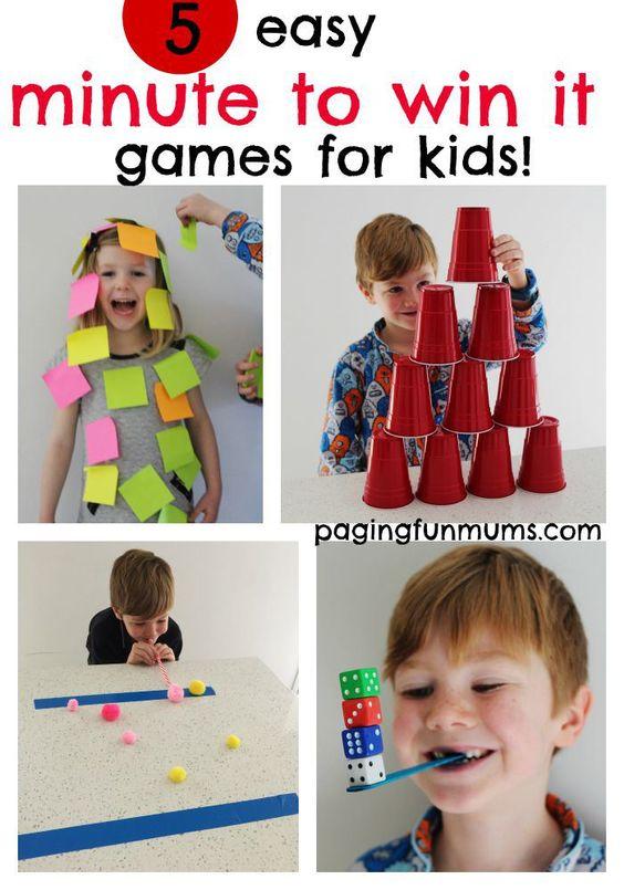 5个简单的'分钟赢取'游戏的孩子