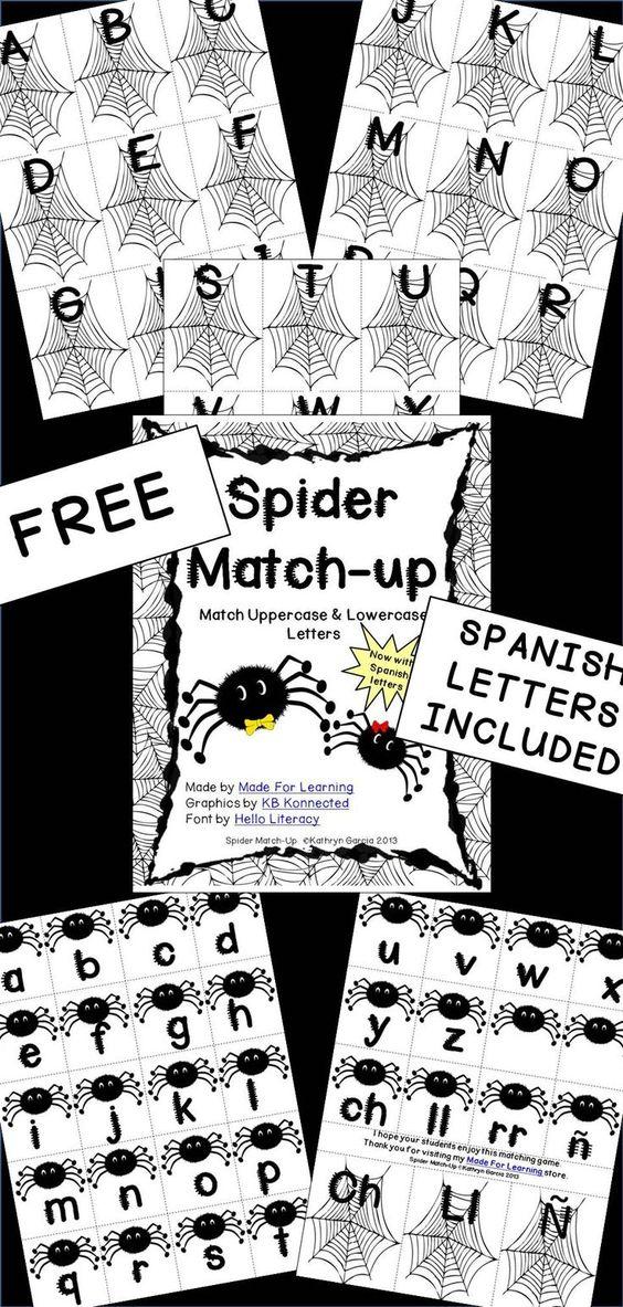 """现在包含西班牙语字母:Spider Match-up旨在为需要练习匹配大写字母和小写字母的儿童提供有趣的中心活动。建议:在卡片纸上打印几套卡片,层压和切割。 *用作""""预测试""""以查看学生已经知道的字母。 *之后用作简单的对决练习"""