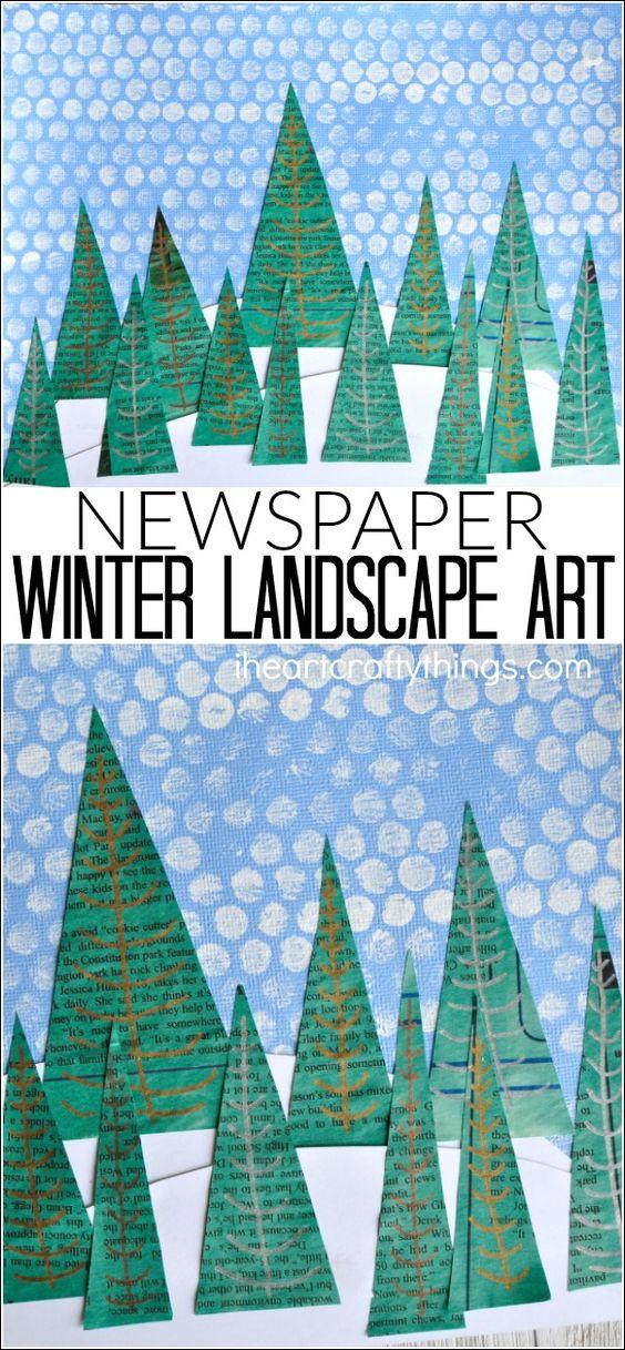 这个报纸冬季景观艺术项目是一个伟大的冬季工艺,冬季艺术项目,儿童冬季工艺和学前工艺。