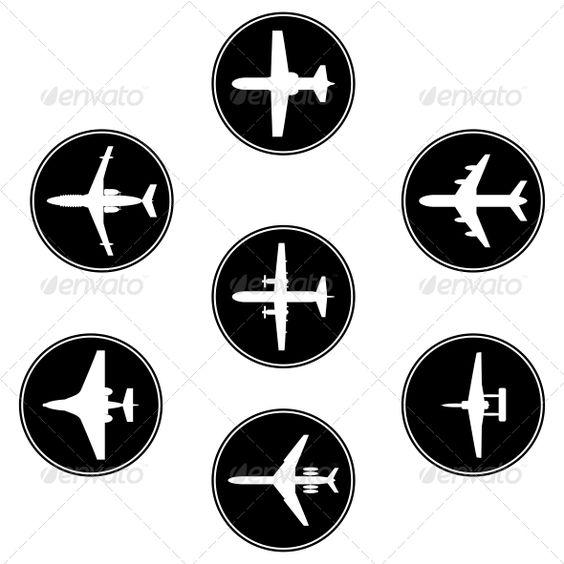矢量黑色集合的不同的飞机。剪影。 EPS 10和JPG文件。