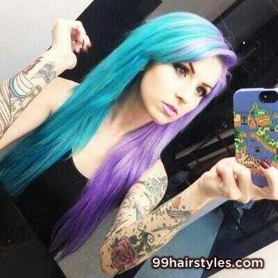 五颜六色的头发,两个健美的头发,彩色的头发,蓝色和紫色的头发,浅蓝色,浅紫色。半发半色