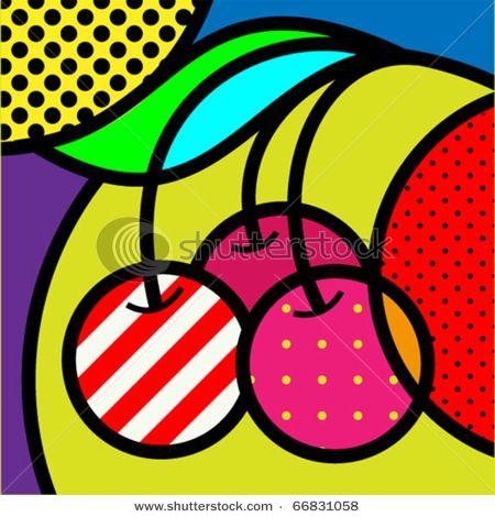 樱桃波普艺术水果矢量插图设计