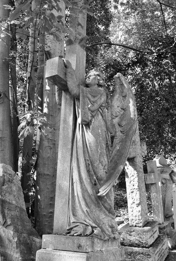 海格盖特公墓是欧洲最美丽的公墓。他可以作为来自英国伦敦的一日游。墓碑破烂,杂草丛生,天使雕像。完美制作美丽的哥特式照片拍摄。