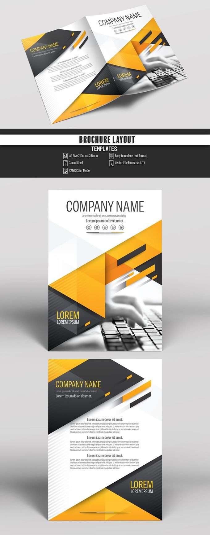 Brochure Cover Layout with Gray and Orange Accents 25. Buy this stock template and explore similar templates at Adobe Stock  #Brochure #Business #Proposal #Booklet #Flyer #Template #Design #Layout #Cover #Book #Booklet #A4 #Annual #Report| Brochure template | Brochure design template | Flyers | Template | Brochures | Flyer Background | Background design | Business Proposal | Proposal Design | Booklet | Professional | Professional - Proposal - Brochure - Template