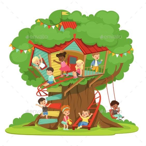 孩子们玩和开心在树屋里,孩子们的操场与秋千和梯子丰富多彩的详细矢量图在白色背景上