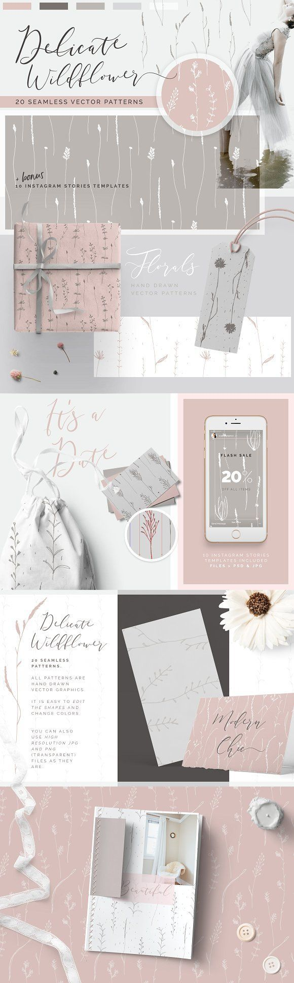 Wildflower Patterns + Templates Set by Youandigraphics on @creativemarket