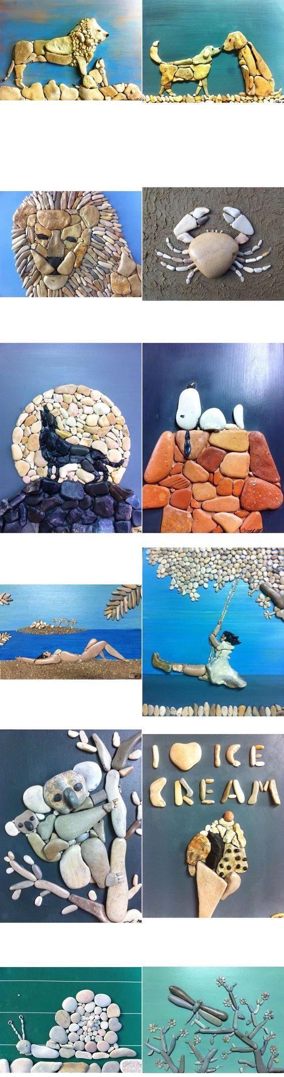 ----更多DIY理念----这是一组真正令人鼓舞的创意石艺设计。你可以制作可爱的人物或动物,像家庭或花园的墙壁,或花园的路径,或与他们的石地垫,酷!图片通过:sassidautore如果你已经看到了如上所述的做石垫的想法,或者如果你错过了,但有兴趣,你可以通过下面的链接检查列表:icreativeideas  -  DIY石地板垫