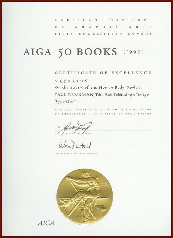 AIGA 50 Books certificate with a rather over-the-top seal!