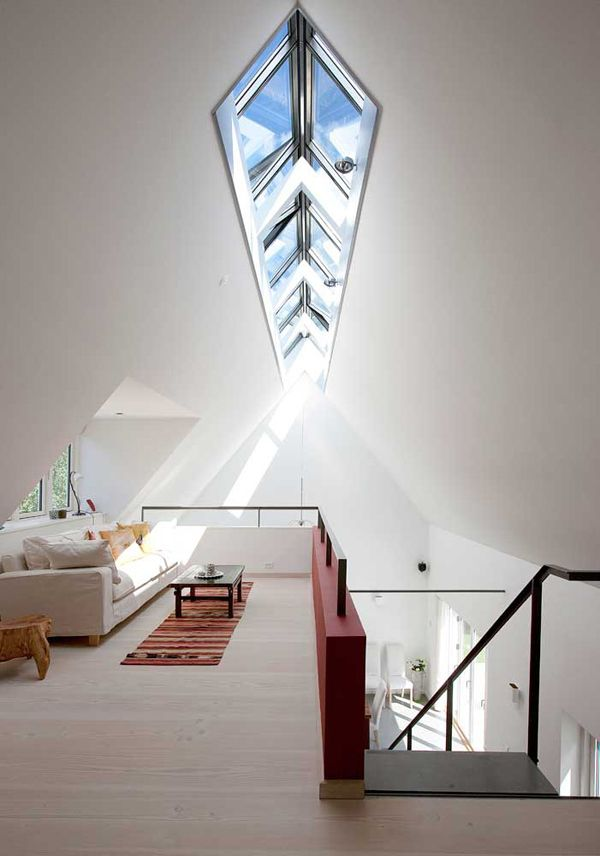 Simplicity with light wood, whites, black, and deep red, and an unbelievable skylight